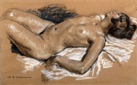 reclining nude by charles-auguste edelmann