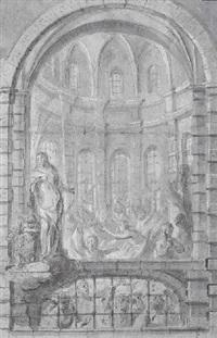 une scène d'enfer dans une église by joos daneels
