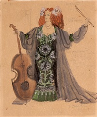 costume sketch for gilbert and sullivan play