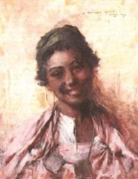 jeune fille souriant by georges gasté