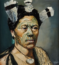 portrait of a maori man by dennis knight turner
