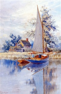 yacht on the broads by a cottage by stephen john batchelder