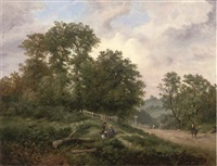 children playing in an extensive wooded landscape by henry harris lines