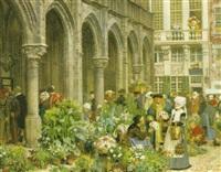 blomstermarknad i brabant på 1500-talet by georg von rosen