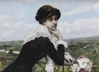 femme au balcon by norbert goeneutte