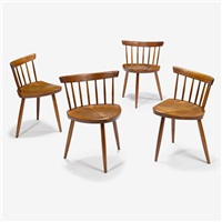 set of four cherry mira chairs, 1957 by george nakashima