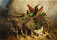 schafe und hühner bei einer schubkarre mit heu by eugène cottin