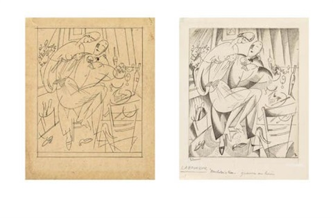 bachelors fare a preparatory drawing for the engraving in pencil on tan tracing paper by jean emile laboureur