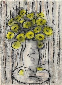 untitled (vase with yellow flowers) by krishna hawlaji ara