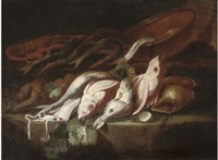 a still life of dead fish with an earthenware pot on a stone ledge, a mountainous landscape beyond by elena recco