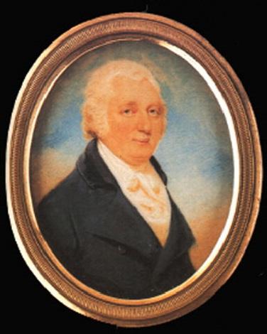 portrait of a gentleman wearing blue coat by edward miles