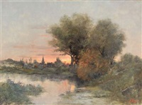 paysage au couchant by joseph bain