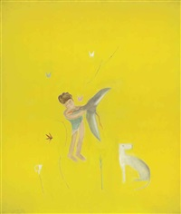 boy with a duck by craigie aitchison