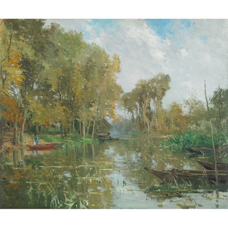 fishermen on a pond by pierre louis léger vauthier