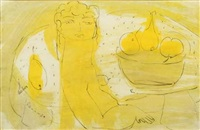 yellow figure with fruit by charles gassner