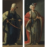 figures, full-length, dressed à la turque (pair) by jean barbault