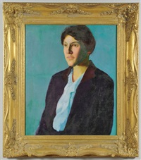 half-length portrait of a woman with dark hair wearing a ruffled light blue shirt and dark jacket with reddish collar by charles webster hawthorne