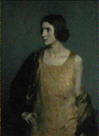 portrait of mrs lintott also known as portrait of a woman  in a yellow dress by henry john lintott