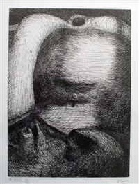 view of a male torso by henry moore