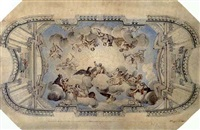 design for a ceiling with gods in triumph by wenzel lorenz reiner