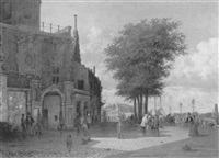 a view of the groothoofdspoort, dordrecht, with townsfolk on a quay by willem de haas-hemken