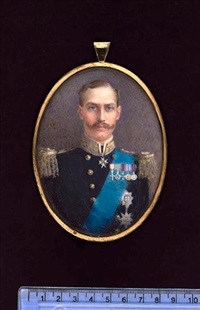 h.m. king haakon vii of norway, wearing uniform and orders by gertrude massey