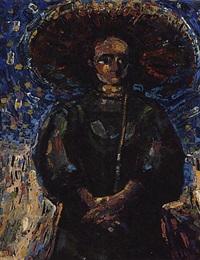 vrouw met parasol by nico van rijn