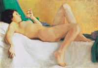 fekvõ lány - reclining girl by arthur coulin