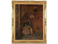 deux personnages costumés dans un intérieur vénitien by joseph saint-germier
