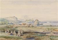 ansichten von italien: baia, ischia, fusaro, paestum (6 works) by achille vianelli