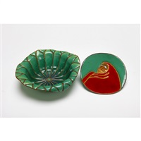 enameled lotus leaves shaped incense container by jubei ando