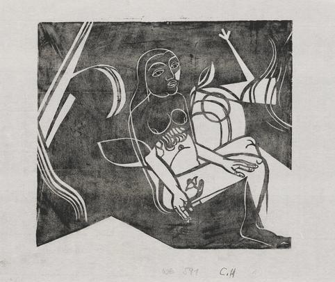 sitzender weiblicher akt mit blume by heinrich campendonk