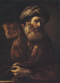 portrait of a bearded man wearing a turban by giovanni battista pace