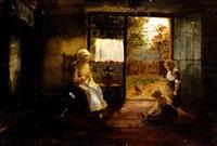 holländisches interieur mit frau und kindern by johannes peeters