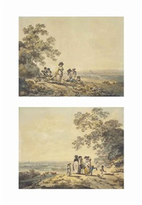 views of london, the thames and st. paul's in the distance: woman and children with a baby carriage; a family pausing on a road (pair) by julius caesar ibbetson