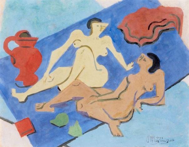 deux nus sur la plage by jean metzinger