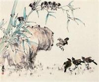 竹雀图 by huang leisheng