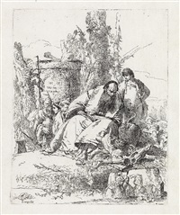 mago seduto, fanciullo e quattro figure (from scherzi) by giovanni battista tiepolo
