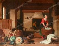 lavandière dans la cuisine by thomas van apshoven