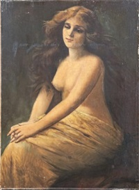 élégante nue au drapé by angelo asti