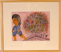 woman in blue with blooming tree by nellie mae rowe
