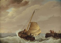 off to sea: the barge hier na beter by johannes hermanus koekkoek