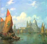 santa maria della salute, venice; and san georgio      maggiore, venice (two paintings) by andrea vasari