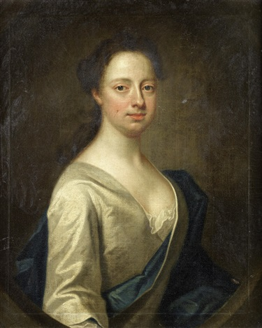portrait of a lady half length in a white silk dress and a blue sash by james fellowes
