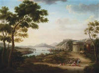 a classical landscape with figures at rest on a track, near a temple, mountains beyond by hendrick frans van lint