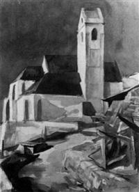 blick auf eine kirche,,auf derruckseite mit marling bez by rudolf hengstenberg