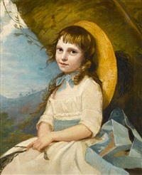 portrait of a young girl, three-quarter length, seated, in a white dress with a blue sash and a straw hat by john russell