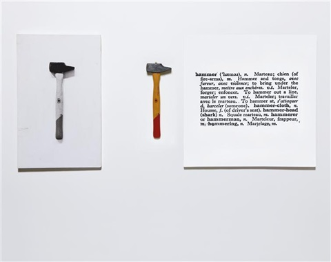 one and three hammers by joseph kosuth