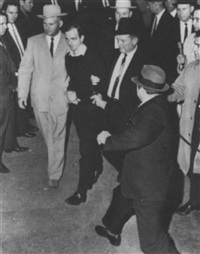 jack ruby, dallas nightclub owner, shooting lee harvey oswald by robert h. (bob) jackson