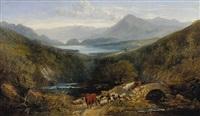 rinder- und schafherde im schottischen hochland by joseph denovan adam